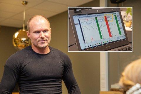 Rutinert tester: Ørjan Hesjedal (46) har jobbet som profesjonell polygrafist i sju år. Han forteller at over halvparten av dem som testes for utroskap har vært utro. Det innfelte bildet viser hvordan resultatene leses av. I det oransje feltet er det gjort et utslag. Foto: Sigurd Øfsti