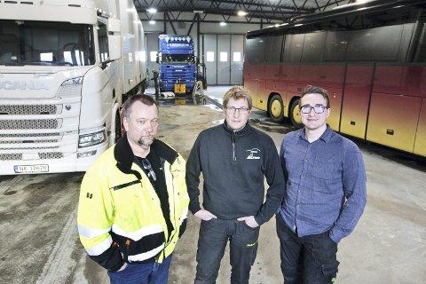 SATSER: Sammen vil Jan Hugo Andreassen fra TEA transport, Terje Furuseth fra Brandval bil/TF maskin, og Jens-Olav Strand fra Berg skysstasjon.