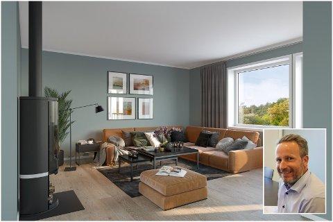 SATSER NÆR SVENSKEGRENSEN: Flere har meldt interesse for det nye boligprosjektet som Lars Atle Nymoen (bildet) og Boligpartner står i spissen for. Slik kan stua i leilighetene i andre etasje bli seende ut.