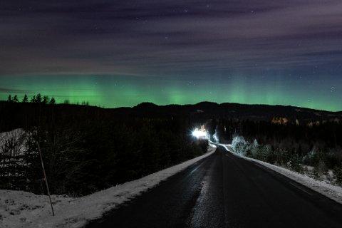 Dette bildet ble tatt i Nannestad søndag kveld.
