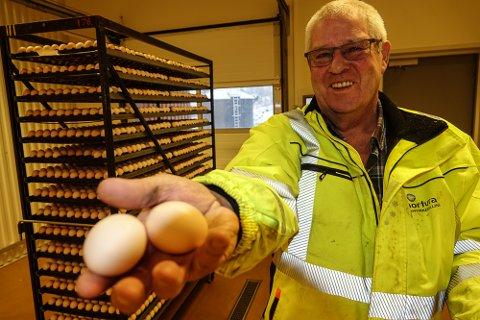 SKJØR LAST: Mer enn 20 millioner egg har Erling B. Svensgård hentet 650 kilometer unna og fraktet trygt hjem til Våler.
