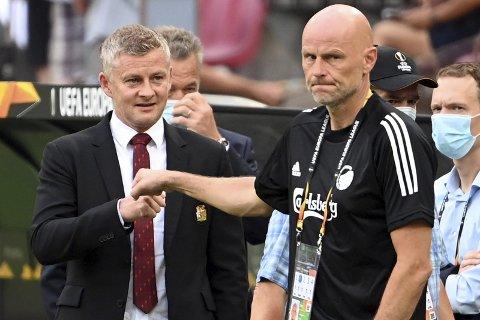 Frustrert: Ståle Solbakken innså at FC København var svært nær en sensasjon mot Manchester United i Europa League-kvartfinalen mandag. Foto: Federico Gambarini/DPA / NTB scanpix