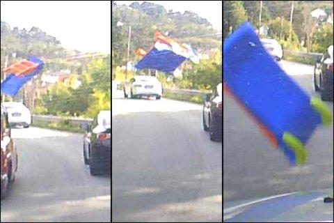 LØSNET: Bildene fra Olav Veas dashbord-kamera viser da uhellet skjedde.