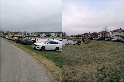 Bilene sto parkert som perler på en snor langs gressbakken mot Vollane søndag.