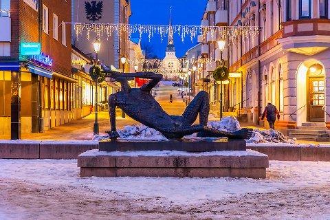 I Arvika har flere blitt forsøkt svindlet av folk som ringer og sier de skal booke en time for dem til korona-vaksinering, og så skal ha betalt. Bildet er av den karakteristiske Fågelmannen på Arvika torg.