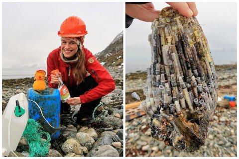 FJÆRA: Tine Marie Valbjørn Hagelin fant denne klyngen med sprøyter på en veldig populær strand.