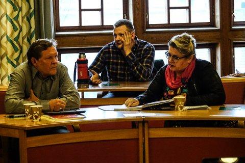 FREMMET FORSLAGET:  Frank Bjørneseth(Ap) til venstre, leder i utvalget for helse og velferd, fremmet Aps forslag om fortsatt drift på Sønsterud. I midten John Arne Borg Engø(Sp) som gikk for nedleggelse, og Lise Tyskeberget(Ap).