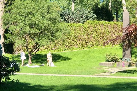 NYTER SOLEN: Lørdag formiddag brukte folk Vår Frelsers Gravlund ved Hammersborg til å sole seg.