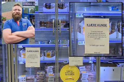 TYNT I HYLLENE: I disse dager møtes Rema 1000s kunder av denne lappen ved kyllinghyllene.
