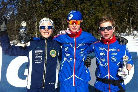 De tre beste fra klasse gutter 13 år i GD-cupen: Isak Skari Berger, Bjørn Lindvik Stubrud, Johannes Staune Mittet.