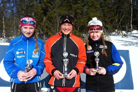 Dombås-jenta Ane-Marie B. Hareland vant foran Ida Kristine Ringlund og Ingrid Øien i J12.