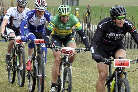 Terrengsyklistene fikk ikke konkurrere på Helgøya lørdag på grunn av dårlig vær.
