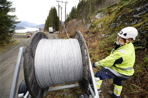 BREDBÅND: Selskapet Brunbjørn og medarbeider Mads Storsveen bidrar til å legge bredbånd. Mer av slikt, skriver Wøien.