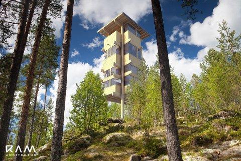 ELGTÅRN: Kraftige søyler av limtre, synlige bærekonstruksjoner, sinklaft og limte hjørnevinduer.på sensommeren står elgtårnet ferdig i Espedalen, midt i Europas største elgtrekk.  Illustrasjon Ram Arkitektur