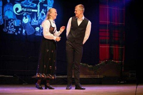 Sverre Melhus Dahl og  Julianna Banken, Skjåk Spel og Dansarlag kom på andreplass i yngste klasse dans.