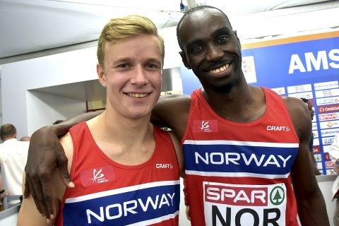 Håkon Morken og Jays Ndure løp de to siste etappene i en norsk kvartett som ble beste nordiske lag på 4x100 meter. Begge foto: Jon Wiik