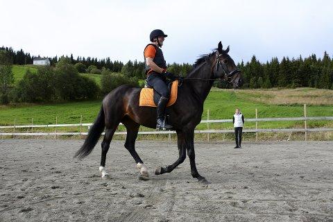 TRENER IHERDIG: Marcel van der Velpen (58), her på ryggen til varmblodshesten Il Royal Delay, er blitt datterens mest dedikerte elev. – Jeg hadde ikke ventet at han skulle bli SÅ engasjert, sier Aurora van der Velpen (26), som synes faren er en flink rytter. Fra 26. august kan du følge dem på TV.Alle foto: Kari Utgaard