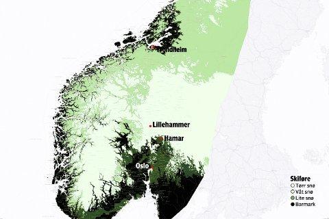 Dette kartet viser snøforholdene i midt-, sør- og Øst-Norge. De hvite feltene, blant annet i Gudbrandsdalen, betyr tørt snøføre. De mørkeste feltene betyr barmark. I nord er det også gode forhold.Illustrasjon: Kjetil Høiby / SeNorge.no
