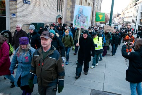 Mange reiser til hovedstaden for å protestere mot at regjeringen ikke følger uveforliket. Foto: Håkon Mosvold Larsen / NTB scanpix