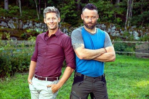 LANDLIV: Programleder Gaute Grøtta Grav (t.v.) og Tom Evensen. Nye episoder vises søndag, mandag og onsdag. Foto: TV2
