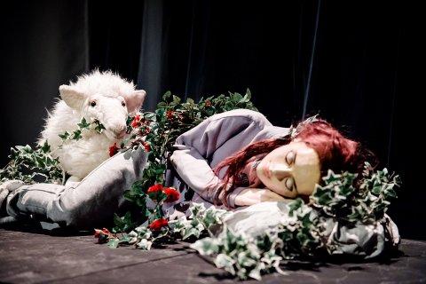 Mennesker og dyr: Både dokker og skuespillere er med i oppsetningen «Tornerose» på Teater Innlandet. Foto: G. Bjørneby