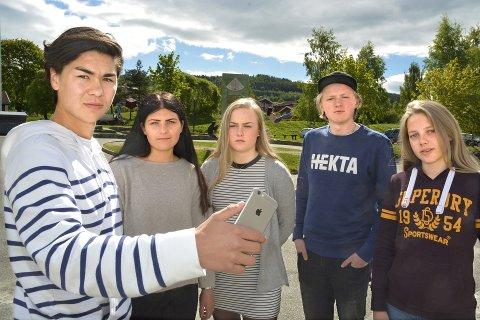 AKSJONERER: – Bruk mobiltelefonen og pc din til noe mer vettugt enn å overtale jenter helt ned til 6. og 7.klasse til å sende bilder av seg selv. Det er dumt og det er straffbart hvis du sprer bilder på sosiale medier. Og hvem vil ha på samvittigheten å ha spredd barneporno, spør Simen Berg, Signe Sofie Aal Sellæg, Tina Brekke, Magnus Kessel og   Mille Haslev Nordbye. Foto: Inger Stokland