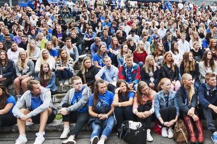 Rekordmange vil studere på Lillehammer. Dette bildet er fra studiestart i 2014.