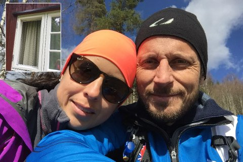 Nina Meza og ektemannen Stig Ingar Evje. Innfelt er bildet av det finurlige innbruddet på Tonsåsen.