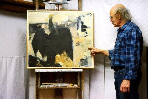 Tor jonsson og fugl: Svart fugl med diktarens eige sjølportrett innfelt. 18 av måleria er knytt til lomsdiktaren.