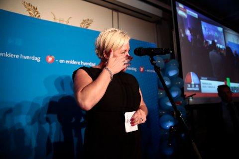 Frp-leder Siv Jensen på Fremskrittspartiets valgvake i Speilsalen på Grand hotel i Oslo mandag kveld. Foto: Cornelius Poppe / NTB scanpix