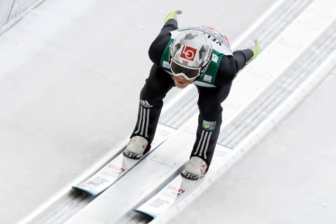 Robert Johansson of Norway speeds down the hill for his trial jump during the team competition at the Ski Flying World Championships in Oberstdorf, Germany, Sunday, Jan. 21, 2018. (AP Photo/Matthias Schrader)