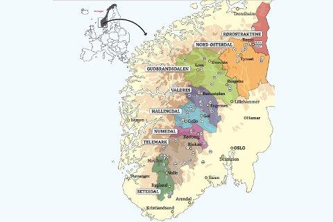 VEIEN TIL MATEN: Dette kartet viser 48 steder som lokalmatprodusenter mener bør besøkes i fjellnorge.