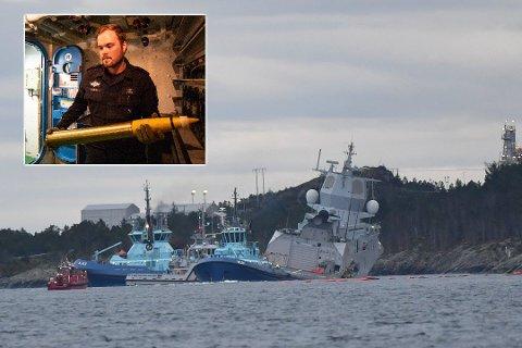 PÅ FREGATTEN: Bjørn Jøran Moen (innfelt) har omtrent 200 sjødøgn på et år. Han holder til på fregatten KNM Helge Ingstad, som natt til torsdag kolliderte utenfor Bergen.