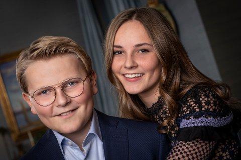 Prins Sverre Magnus sammen med storesøster prinsesse Ingrid Alexandra. Foto: Julia Naglestad / Det kongelige hoff / NTB scanpix