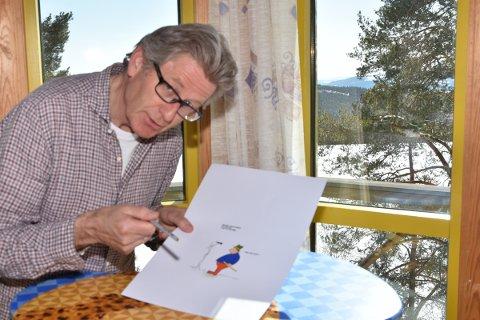 """LEVENDE: For kunstneren HC Medlien blir Halvor stadig mer levende, jo flere tegninger som skapes øverst i fyrtårnet hans """"de utenkte tankers tårn""""."""