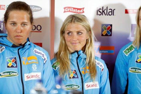 Therese Johaug på pressekonferansen elitelandslag langrenn, mandag.