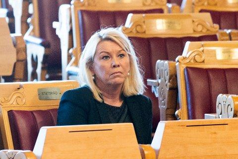 OSLO  20180425. Kommunal- og moderniseringsminister Monica Mæland (H) under Stortingets spørretime onsdag. Foto: Berit Roald / NTB scanpix