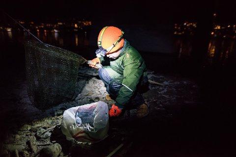Her har åtte år gamle Mico Rolseth fra Vingnes håvet inn sin første håv med krøkle.