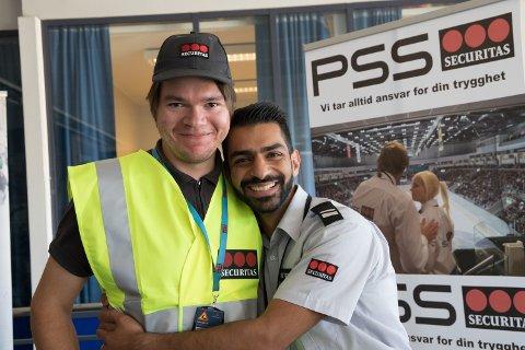 FIKK SJANSEN: Christer V. Hogstad (t.v) traff Amir Torabi Parizi, driftsleder i Securitas, på jobbmessen i 2018. Christer grep sjansen og er nå ansatt i Securitas.
