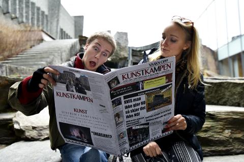 """KUNSTNERE: Syver Marthinsen Goksøyr (22) og Linda Convery Løvold (28) driver avisen """"Kunstkampen"""" ved siden av strøjobbene."""