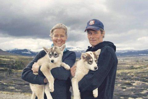 BLIR HJEMME: Anne Stine Hjerkind Ekre og Terje Dahlen driver Snøhetta Huskey AS. Nå rammes bedriften av koronapandemien.