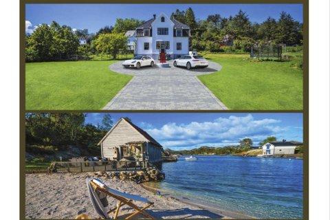 Slik ble eiendommen på Bjorøy presentert i en annonse i BA fredag. Det øverste bildet er manipulert, noe som også nevnes nederst i annonseteksten.