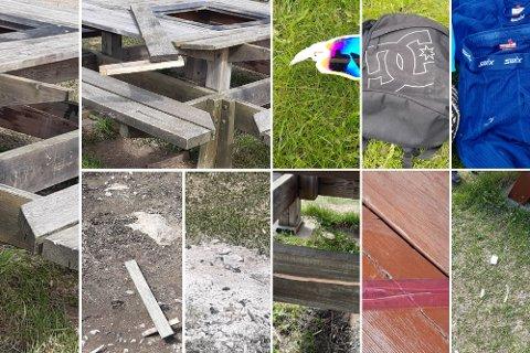 HÆRVERK: Noen ødela en benk og forsøplet i båthavna i Moelv i helga.