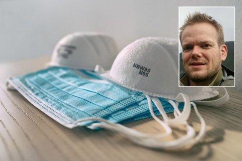 Rune Bekkelund har måttet finne erstatninger da butikkhyllene er rensket for støvmaskene de bruker til vanlig.