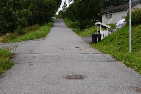 Det var i denne bakken, nederst i Lågenvegen på Lillehammer, at en kvinne i 30-årene ble skadet i en sykkelulykke i Lågenvegen på Lillehammer torsdag kveld. Det er  foreløpig ikke avklart om fartshumpen nederst i bakken forårsaket ulykken.