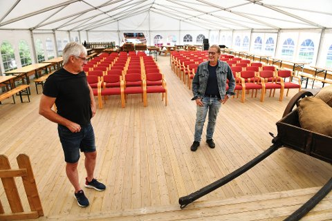 Øyvind Grindstuen (tv) og Øystein Ulen og resten av Ulens kvintett spiller sammen igjen for første gang på 25 år i teltet på Jørundgard førstkommende fredag.