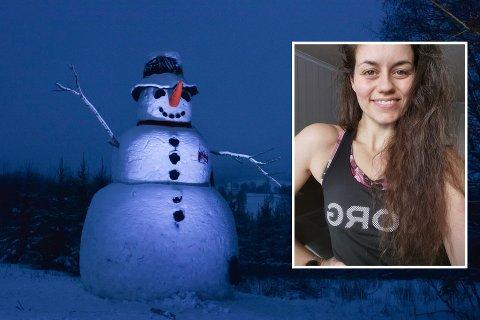 GIKK VIRALT: Stine Gudahl gikk viralt på TikTok med snømannen fra Prøysenhuset.