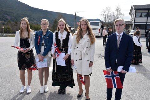 Mari Skjelle, Emilie Brenden, Kaja Romsås, Anna Marie Gråberg og Kjell Akerjordet holdt tale for dagen.