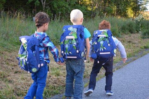 Vegen opp til Lunner barneskole for aller første gang for disse gutta.