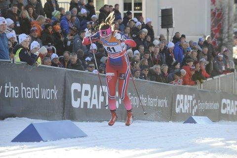 STAKET: Barbro Kvåle var den eneste som staket i prologen i Drammen. Foto: Tommy Gullord.